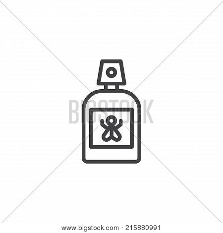 Repellent spray insect line icon, outline vector sign, linear style pictogram isolated on white. Mosquito repellent symbol, logo illustration. Editable stroke