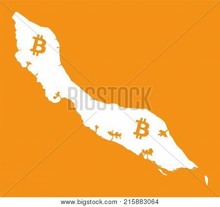 Curacao Map With Bitcoin Crypto Currency Symbol Illustration
