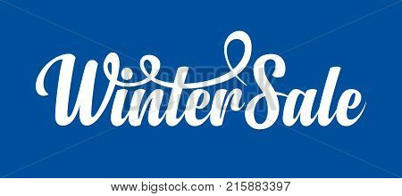 White caligraphic text Winter Sale on blue background.