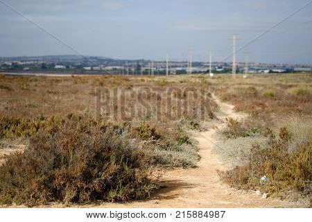 Path to the Las Salinas salt lake. Salt lake of Torrevieja declared one of the healthiest in Europe according to the World Health Organization. Province of Alicante. Costa Blanca Spain