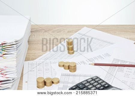 Pencil And Step Pile Of Gold Coins Business Concept Successful