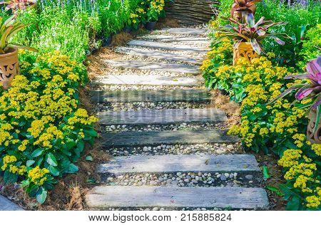 Pathway in garden, Flowers with bricks pathways,garden landscape design