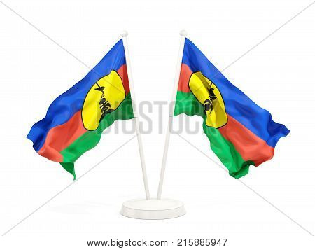 Two Waving Flags Of New Caledonia