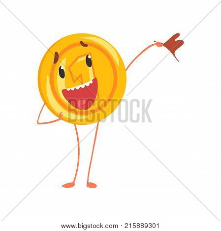 Friendly one cent character standing with flag in hand. Shiny coin icon. Cartoon penny in flat style. Money and finance concept. Vector illustration design for sticker, print, poster or mobile app.