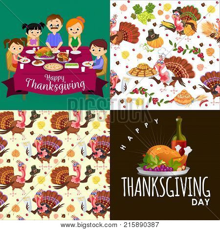 Harvest set, organic foods like fruit and vegetables, happy thanksgiving dinner background, vector illustration harvesting with pumpkin and a stack of wheat ears, cranberry berries and bunches of grapes, bread
