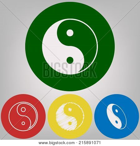 Ying yang symbol of harmony and balance. Vector. 4 white styles of icon at 4 colored circles on light gray background.