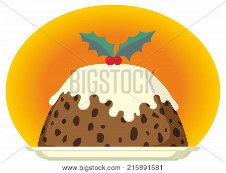 Christmas Pudding with Cream Brandy Custard and Holly Decoration