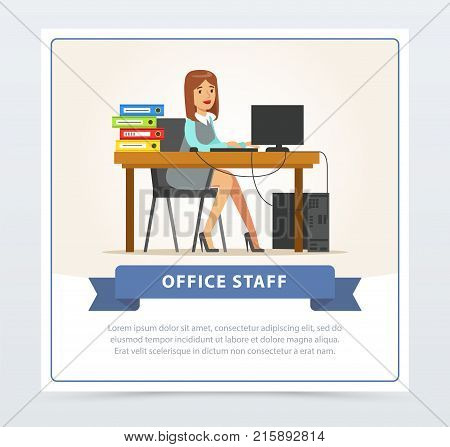 Card with smiling young woman office worker character in official clothing working at computer. Business woman or clerk sitting at her desk with folders. Flat style modern cartoon vector illustration.