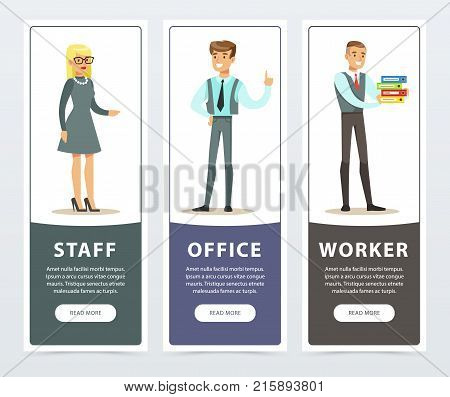 Vertical banners set with smiling people characters in official clothes. Office staff, workers. Man standing with hand up, woman in gray formal dress and male holding folders. Flat vector collection.