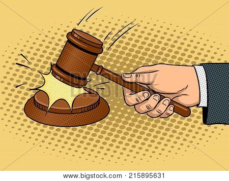Judge gavel pop art retro vector illustration. Wooden hammer auction. Comic book style imitation.