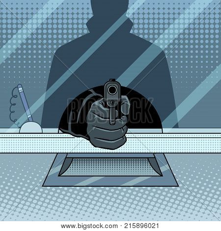 Bank robbery with gun pop art retro vector illustration. Crime scene. Comic book style imitation.