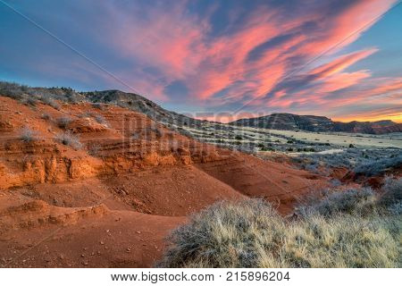 Sunset over Red Mountain Open Space in northern Colorado, fall scenery