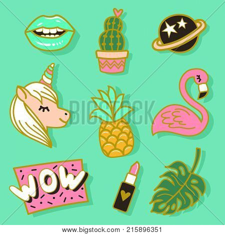 Fashion cute enamel pin patches stickers set. Pop art fashion vector illustration.