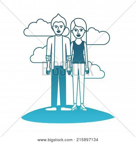 couple in degraded blue silhouette scene outdoor and him with shirt and jacket and pants and shoes with short hair and her with t-shirt sleeveless and pants and heel shoes with long straight hair vector illustration