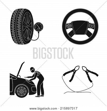 Engine adjustment, steering wheel, clamp and wheel black icons in set collection for design.Car maintenance station vector symbol stock illustration .