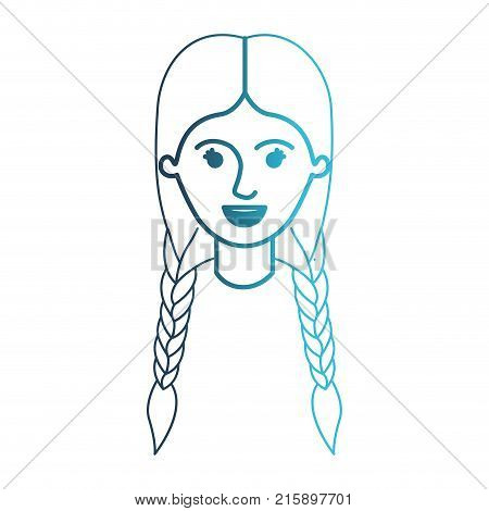 female face with braided hair in degraded blue silhouette vector illustration