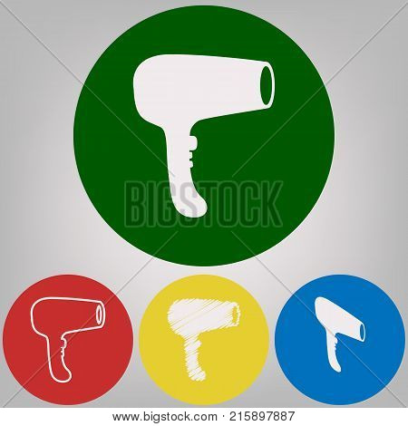 Hair Dryer sign. Vector. 4 white styles of icon at 4 colored circles on light gray background.