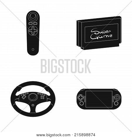 Game console and joystick black icons in set collection for design.Game Gadgets vector symbol stock  illustration.