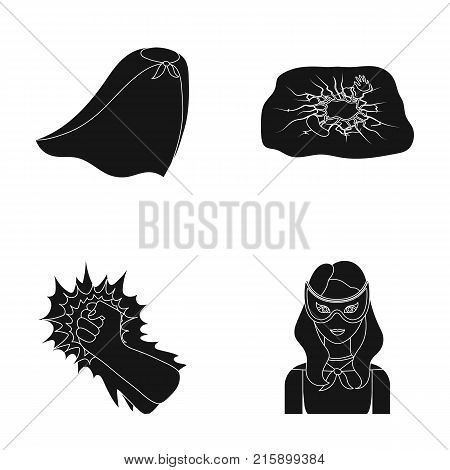 Cloak, red, clothes, and other  icon in black style. Super, strength, girl icons in set collection