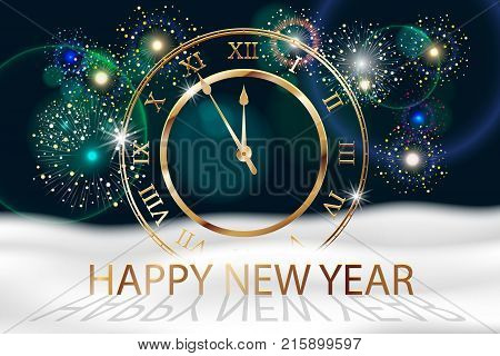 Vector Holiday Fireworks Background with gold old clock. Happy New Year 2018. Sreetings, colorful fireworks design with white snow. Vector illustration EPS 10