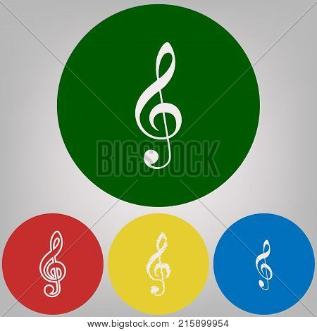 Music violin clef sign. G-clef. Treble clef. Vector. 4 white styles of icon at 4 colored circles on light gray background.