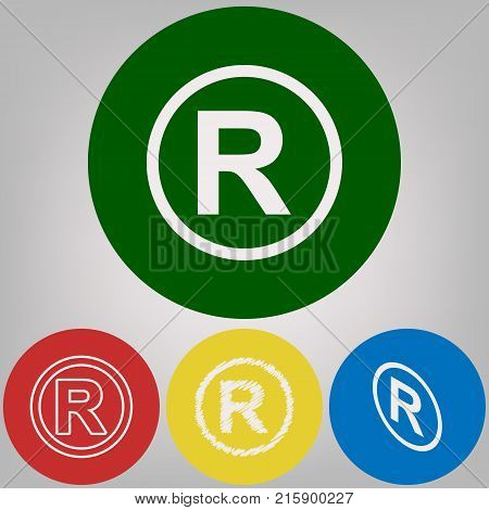 Registered Trademark sign. Vector. 4 white styles of icon at 4 colored circles on light gray background.