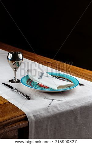 beautiful table setting the dining table on a dark background