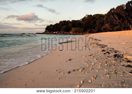 Tropical beach with natural sunset light Anse Severe La Digue Seychelles