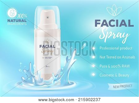 Realistic Vector Illustration Of Beautiful White Facial Spray Bottle With Water Splash.