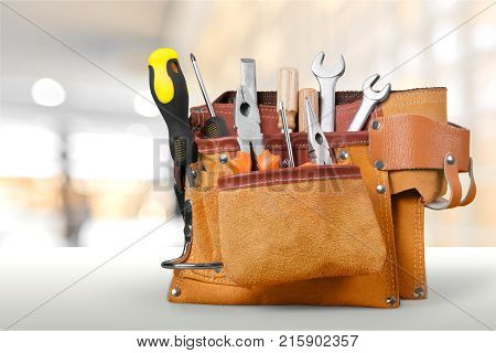Tool tools belt group background isolated equipment