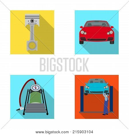 Car on lift, piston and pump flat icons in set collection for design.Car maintenance station vector symbol stock illustration .