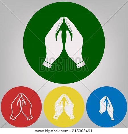 Hand icon illustration. Prayer symbol. Vector. 4 white styles of icon at 4 colored circles on light gray background.