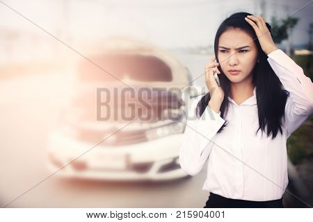 Beautiful Business Woman Sitting On Car Seat And Fastening Seat Belt Car Safety Concept.