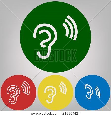 Human anatomy. Ear sign with soundwave. Vector. 4 white styles of icon at 4 colored circles on light gray background.