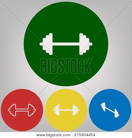 Dumbbell weights sign. Vector. 4 white styles of icon at 4 colored circles on light gray background.