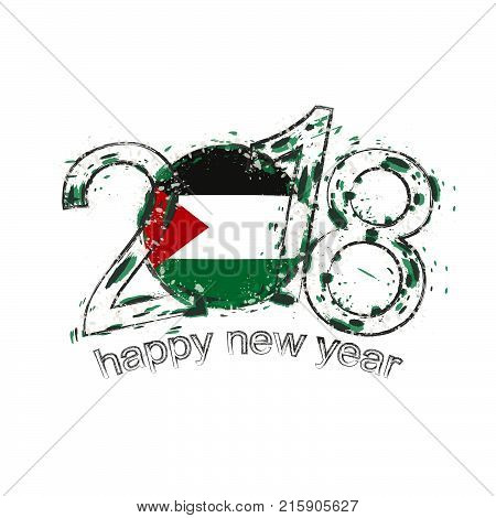 2018 Happy New Year Palestine Grunge Vector Template For Greeting Card And Other.