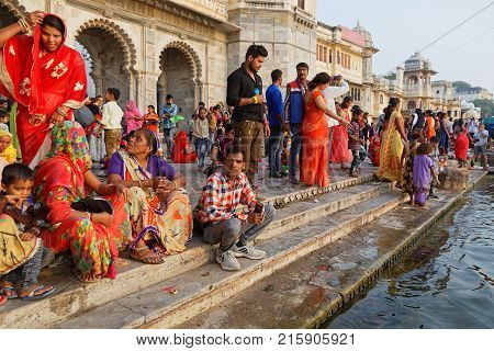 Udaipur, India, November 4, 2017 : People During A Ceremony. On The Full Moon Day, An Hindu Ceremony