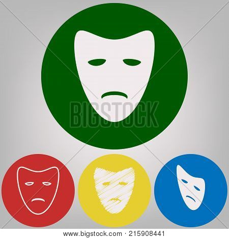 Tragedy theatrical masks. Vector. 4 white styles of icon at 4 colored circles on light gray background.