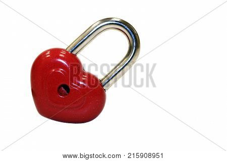 Red padlock on a white background. Love padlock.