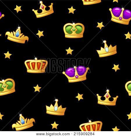 Seamless cartoon vector pattern with king crown icons. Assets for game design