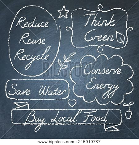 Set of hand drawn ecology lettering on chalkboard - Reduce Reuse Recycle, Save water, Think green, Conserve Energy, Buy Local Food
