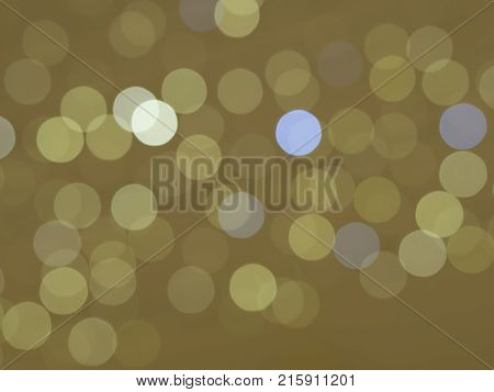 Golden And Blue Bokeh Lights Circles On Beige Gold Background Abstract Celebration Background