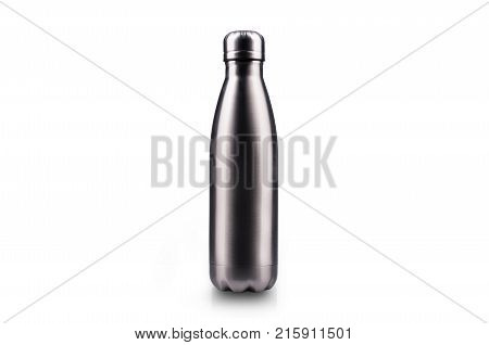 Stainless thermos water bottle, isolated on white background. Silver color