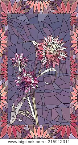 Vector mosaic with couple pink helichrysum (immortelle) in vertical stained-glass window frame.