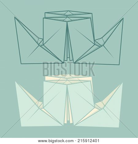 Set vector simple illustration paper origami and contour drawing of steamship.