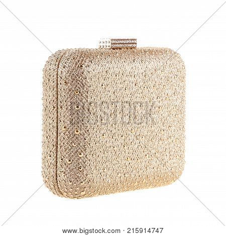 Gold Women's handbag Ladies bag Gold with pearl female clutch. Women's bag isolated white background. Clutch isolated white background.
