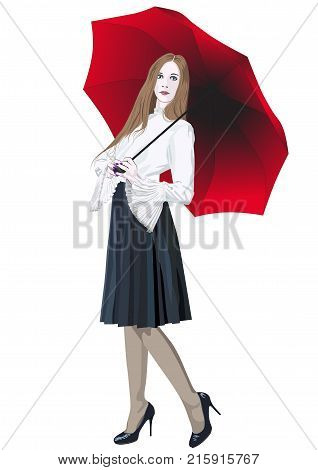 A girl in a skirt is standing with a red umbrella - vector