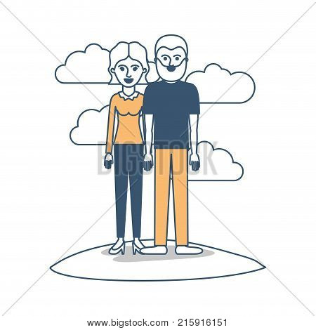 couple in color sections silhouette scene outdoor and her with blouse long sleeve and pants and heel shoes with short wavy hair and him with t-shirt and pants and shoes with short hair and beard vector illustration