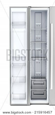 Opened door on empty side-by-side freezer front view, 3D illustration