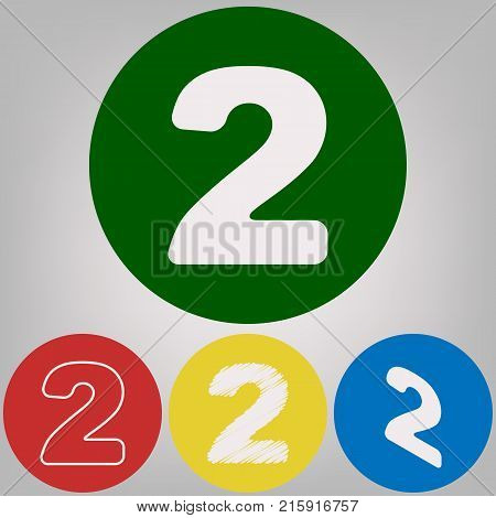 Number 2 sign design template elements. Vector. 4 white styles of icon at 4 colored circles on light gray background.